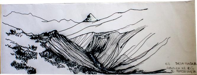 el desfiladero: abajo el río torrentoso, al fondo el glaciar