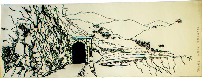 Tunel de antiguo tren minero Cajón del Maipo-Plaza Italia, vista frontal